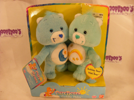 "VHTF 8"" BEDTIME & WISH CARE BEARS CUDDLE PAIR"